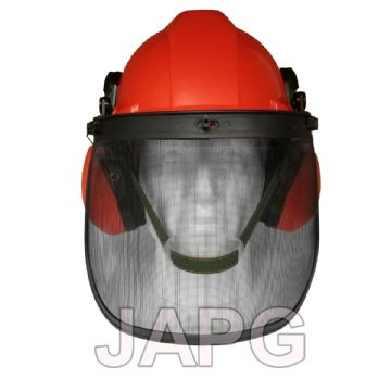 Chainsaw Safety Helmet with Ear Defenders Muffs and Steel Mesh Face Visor